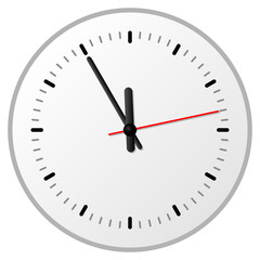 fünf vor zwölf auf einer analogen Uhr