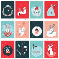 Christmas New Year card collection design template Vector illustration