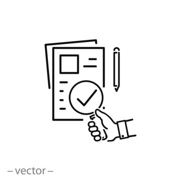 verification of documents icon, analysis of report linear sign isolated on white background - vector illustration eps10