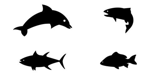 Vector illustration set of silloetted sea animals