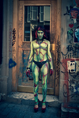 Zombie Girl in the street for Halloween