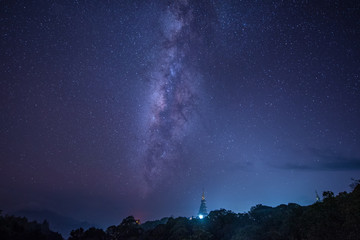 beautiful milky Way towering over temple building  chaing mai thailand