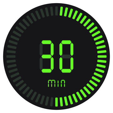 The green digital timer 30 minutes. electronic stopwatch with a gradient dial starting vector icon, clock and watch, timer, countdown symbol.