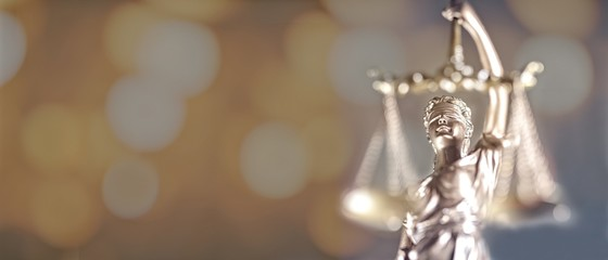 Portrait of lady Justice - soft focus with bokeh background. and copy space.