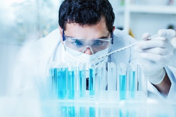 Scientist man working at the laboratory
