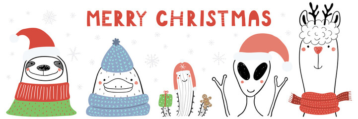 Hand drawn vector illustration of a cute funny sloth, platypus, cactus, alien, llama, text Merry Christmas. Isolated objects on white background. Line drawing. Design concept Christmas card, invite.