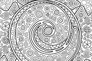 Rectangle cosmic coloring book page with spiral