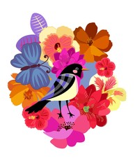 Beautiful natural print. Cute funny abstract bird, big blue butterfly and bright garden flowers in vector.