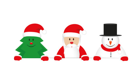 cute christmas tree santa claus and snowman cartoon