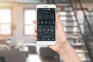 Home temperature, safety and environment control on smartphone app. Woman using smart home app on her phone. Wall mural