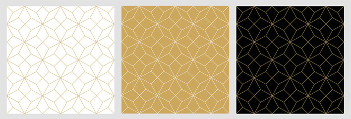 Seamless pattern abstract star christmas background with elegant golden vector lines Wall mural