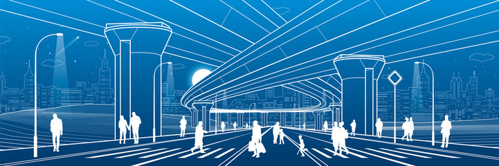 City architecture and infrastructure illustration, automotive overpass, big bridges, urban scene. People walking at street. Night town highway. White lines on blue background. Vector design art