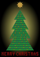 Christmas tree, digital designed christmas card. Binar code in christmas tree silhouette and diod inscription Merry christmas. Unusual design for any computer company. Vector illustration