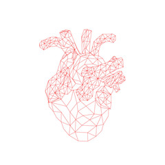 Geometric heart background with lines. abstract illustration. heart of lines
