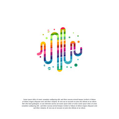 Abstract Colorful Pulse logo vector, Heartbeat logo designs template