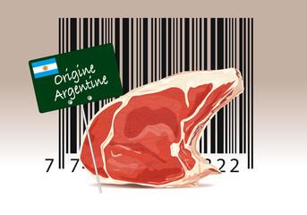 Code barre et étiquette d'origine de viande en provenance d'Argentine