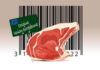 Code barre et étiquette d'origine de viande en provenance de l'Union Européenne