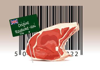 Code barre et étiquette d'origine de viande en provenance du Royaume-Uni