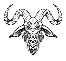 Vector illustration with a contour drawing of the head of a horned goat. The symbol of Satanism Baphomet on white background