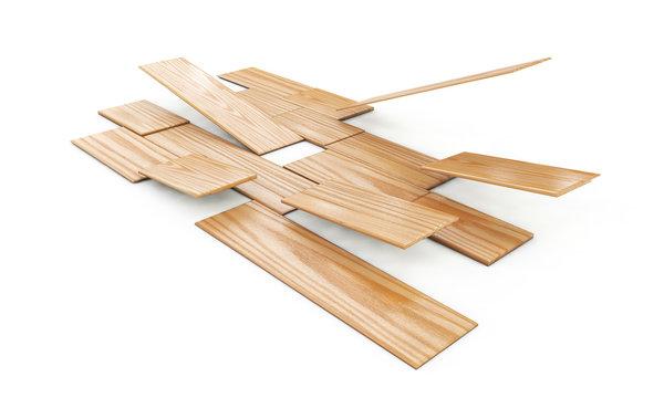 3d render of pine wood floor tiling assembly