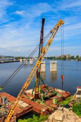 River cargo port in Kiev, Ukraine