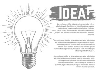 Idea vector banner and web poster design. Sketched light bulb vector illustration