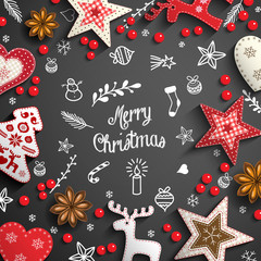 Christmas background with white doodles and decorations