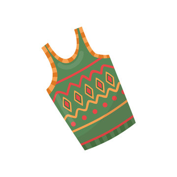 Green warm woolen vest with colorful pattern. Garment for cold season. Winter clothing. Flat vector design