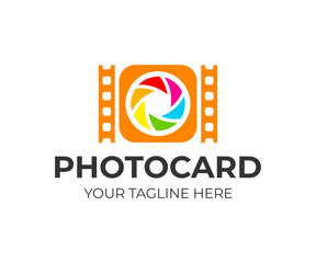 Camera with lens and film, logo design. Photography, photographer, photo and media studio, vector design and illustration
