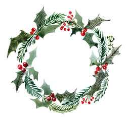 Christmas watercolor wreath with Holly. Branches of trees. Holly sprigs with red berries.