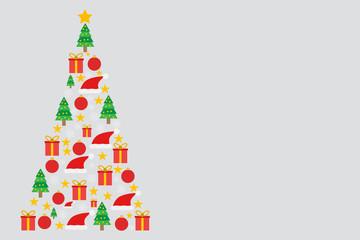 Pino formado por ornamentación navideña sobre fondo gris.
