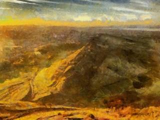 Hand drawing watercolor art on canvas. Artistic big print. Original modern painting. Acrylic dry brush background.  Wonderful mountain landscape. Beautiful view. Charming sunset resort.