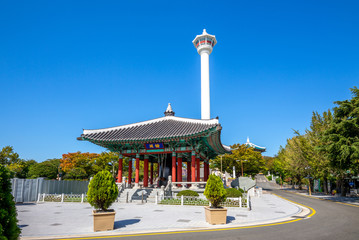 yongdusan park with bell pavilion and busan tower Wall mural