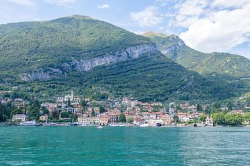 Mezzegra city from Lake Como far view