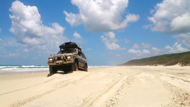 Offroad vehicle at the beach
