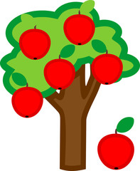 Cartoon apple tree with ripe red apples and green crown isolated on white background