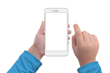 Little boy holding white modern smartphone with empty screen in hand, isolated on white background. Mockup