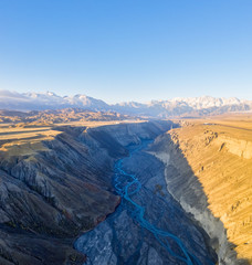 aerial view of xinjiang anjihai grand canyon