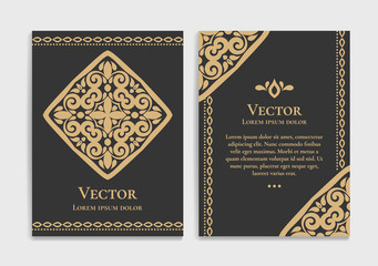 Gold vintage greeting card on a black background. Luxury vector ornament template. Mandala. Great for invitation, flyer, menu, brochure, postcard, wallpaper, decoration, or any desired idea.