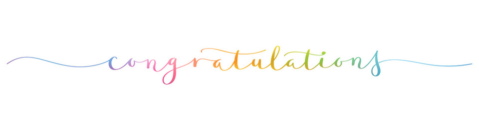 CONGRATULATIONS! rainbow brush calligraphy banner