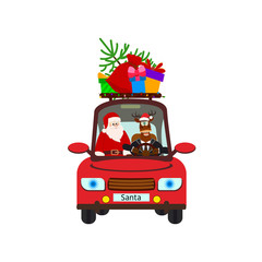 Santa Claus with reindeer in red car. Xmas card. Creative decoration element for Holiday Greeting Gift Party Poster.