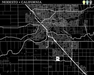 Simple map of Modesto, California