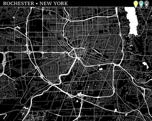 Simple map of Rochester, New York