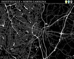 Simple map of Fayetteville, North Carolina