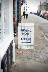 Frying now sign