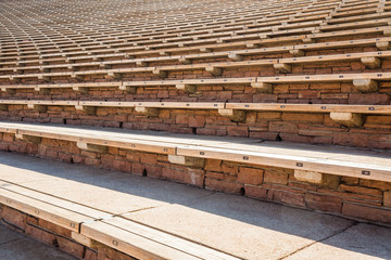 Outdoor Stone and Wood Stadium SeatingHistoric Red Rocks Amphitheater near Denver, Colorado