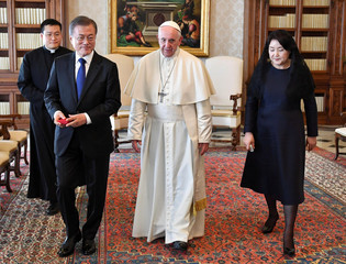 Pope Francis meets South Korean President Moon Jae-in and his wife Kim Jung-sook during a private audience at the Vatican