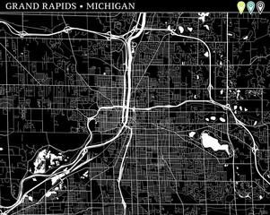 Simple map of Grand Rapids, Michigan