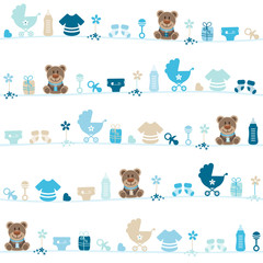 Seamless Pattern Teddy Baby Symbols Boy Blue/Beige