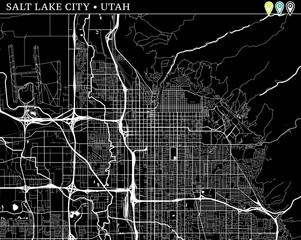 Simple map of Salt Lake City, Utah